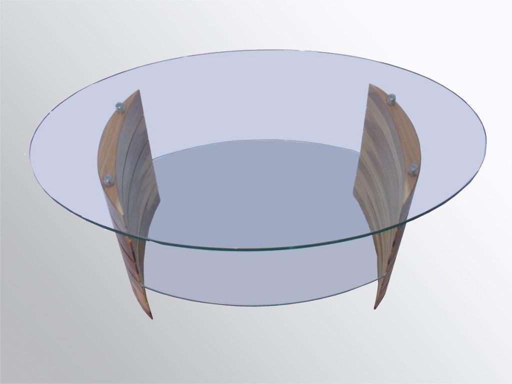 Üveg-fa dohányzóasztal