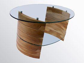 Üveg-fa dohányzó asztal